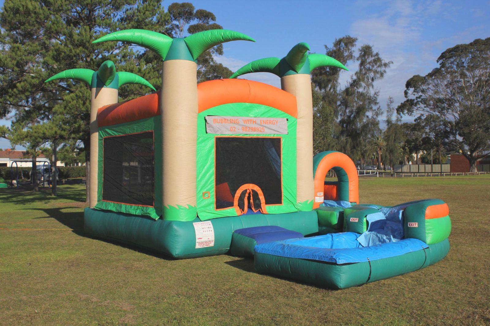 Water Bouncy Castle Jump N Splash Tropical With Pool